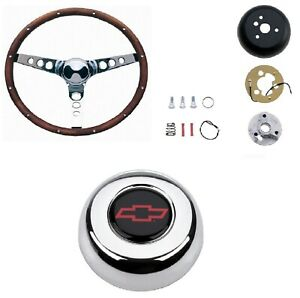 Grant 13 5 Wood Steering Wheel installation Kit red Horn Button For Bel Air