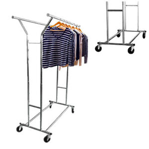 Double Rail Bar Heavy Duty Grade Clothing Rolling Garment Rack Hanger Holder Us