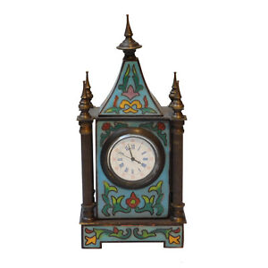 Tabletop Cloisonn European Building Shape Old Shanghai Winding Clock N344