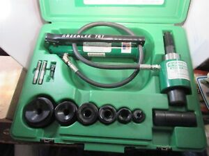 Greenlee 7306 Hydraulic Knockout Punch Driver Set With Punches Dies Conduit