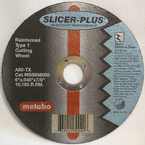 Metabo 55 998 55998 6 Slicer plus Cut off Wheels box Of 50 655998000