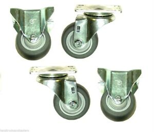 4 Plate Casters With 3 Soft Rubber Wheels For Utility Carts 2 Rigid