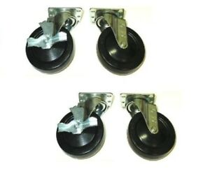 Four Swivel Plate Casters With 5 Black Hard Rubber Wheels Two Side Lock Brake