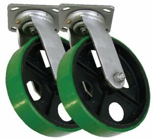 Set Of 2 Swivel Casters With 8 X 2 Polyurethane Wheel On Steel Center
