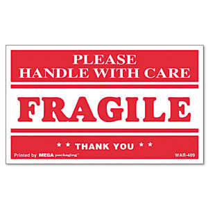 Universal Fragile Handle With Care Self adhesive Shipping Labels roll Of 500