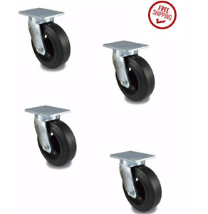 Set Of 4 New Phenolic Swivel Casters 8 X 2 With Roller Bearing