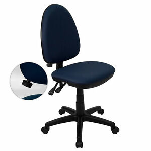 Amalan Navy Blue Fabric Armless Office Chair