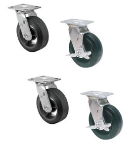 Set Of 4 Swivel Casters With 6 X 2 Mold on Rubber On Steel Wheels 500 Cap 2