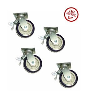 Set Of 4 Swivel Casters With 6 Polyurethane Wheel Dual Pedal Total Lock Brake