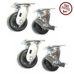 clearance 4 Casters With Rubber 4 Wheel And Lock Brakes On 2 Caster