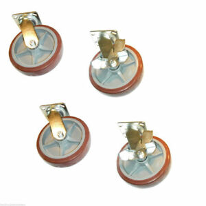 set Of Four Swivel Casters With 8 X 2 Polyurethane Wheels 2 Brakes