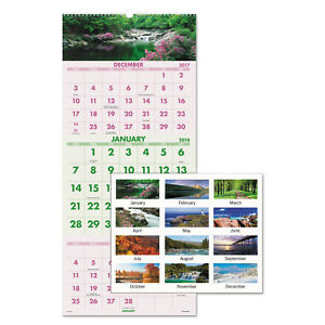 At a glance Scenic Three month Wall Calendar 12 X 27 2017 2019