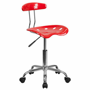 Saddle Red Metal Chrome finished Home Office Chair With Tractor Seat