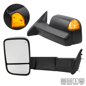 Pair For Dodge Ram 1500 2500 Pickup Power Heat Led Turn Signal Towing Mirrors