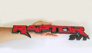 1x Oem 15inch Raptor Svt Tailgate Emblem Badge For 09 14 Ford F150 Black Red W1