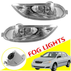 2x Bumper Fog Light Clear Len Front Lamps Set For Toyota Camry Corolla 2005 2008