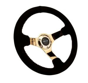 Nrg Race Series Steering Wheel Black Suede Gold Spokes Red Stitching
