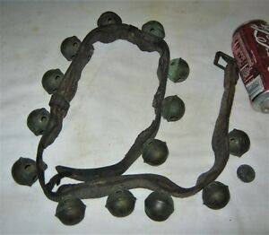 14 Primitive Equestrian Brass Horse Sleigh Bells Antique Country Farm Door Art