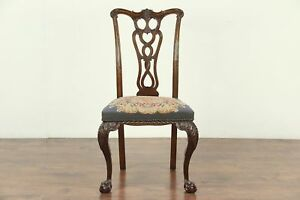 Georgian Chippendale 1900 Antique Desk Or Side Chair Needlepoint 28971