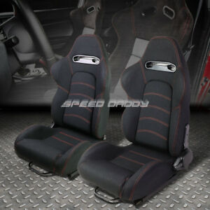 Pair Black double Red Stitch Reclinable Cloth Type r Racing Seats W sliders