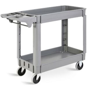 Gray Plastic Utility 2 Shelves Rolling Service Cart Restaurant Warehouse Us