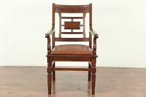 Victorian Eastlake Antique Walnut Desk Or Library Chair New Leather 28976