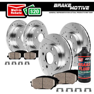 Front Rear Dril Slot Brake Rotors Pads For 2002 2003 2004 2006 Mini Cooper