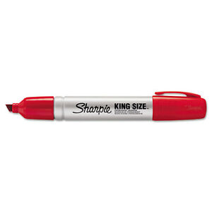 Sharpie King Size Permanent Marker Chisel Tip Red Dozen