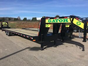 35 5 Ft Hot Shot Freight Flat Bed Air Ride Gooseneck Gator Made Trailer
