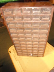 Vintage Large Metal Plastic Drawers 60 Drawer Raaco Usa Storage Parts Cabinet