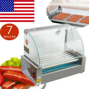 Commercial 18 Hot Dog Hotdog 7roller Grill Cooker Machine cover 1050w Store Shop
