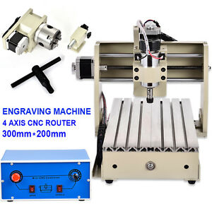 4axis 3020 Cnc Router Engraver Engracing Milling Machine Carving 3d 300w G Code