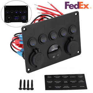 5 Gang On off Toggle Switch Control Panel Dual Usb 12v For Rv Car Marine Boat