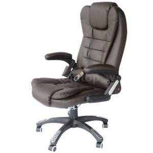 Pu Leather High Back Executive Heated Massage Office Chair Dark Brown F9n9