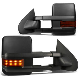 Fit 2003 2007 Chevy Silverado Powered Black Side Towing Mirror Heat Amber Led