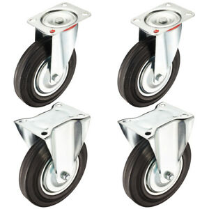 4 Pack 8 inch Rubber Caster Wheel 2 Swivel 2 Rigid 507 Lbs Load Capacity Each
