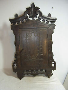 Antique German Black Forest Carved Wood Wall Cabinet 19th Century