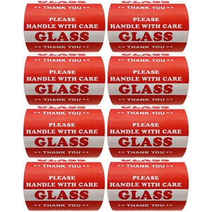 3 X 5 Handle With Care Glass Warning Label Sticker 4000 Pieces Semi Gloss