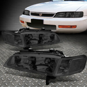 For 94 97 Honda Accord Smoked Housing Clear Corner Headlight Replacement Lamps