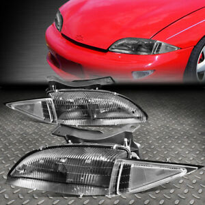 For 95 99 Chevy Cavalier Black Housing Clear Corner Headlight Replacement Lamps