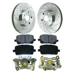 Front Set Drilled Slotted Rotors Brake Pad Caliper For 03 07 2008 Toyota Corolla