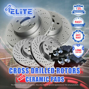 F R Drilled Rotors Pads For 2011 2014 Ford Mustang Gt 5 0l W Brembo Brakes
