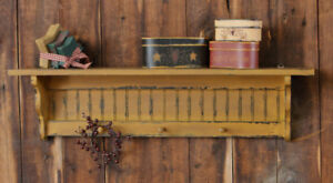 Country New Large Distressed Mustard Wood 3 Peg Wall Shelf