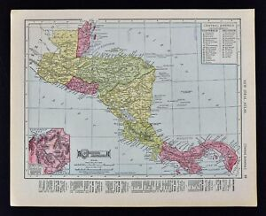 1911 Mcnally Index Map Central America Panama Canal Costa Rica Guatemala Beliz