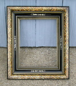 Antique Eastlake Victorian Sponged Black Carved Lined Liner Picture Frame 8 X 10