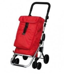 Red Lightweight Folding Grocery Shopping Cart Tote Bag Travel Rolling Carrier