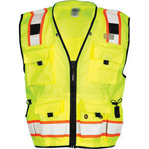 Ml Kishigo Men s Class 2 High Vis Professional Surveyor s Vest Lime 3xl
