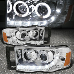 led Drl halo Rings For 2002 2005 Dodge Ram Chrome Amber Projector Headlights