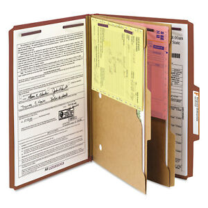 Smead Pressboard Folders With Two Pocket Dividers Legal Six section Red 10 box