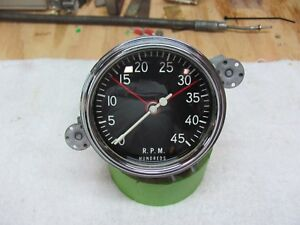 Stewart Warner 4500rpm In Dash Mounting Curved Glass 3 3 8 Tachometer Clean 1956